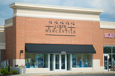 Philadelphia, Pennsylvania June 9 2018: J.Crew Mercantile storefront in Philadelphia. J.Crew Group, Inc., is an American multi-brand, multi-channel, specialty retailer.