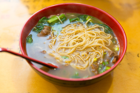 Beef noodle soup, chinese taiwanese cuisine Reklamní fotografie - 104840889