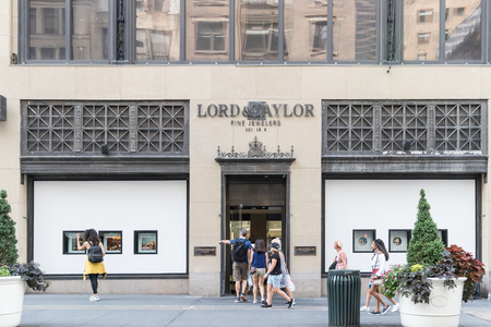 New York, USA, August 18, 2018: Fifth Avenue & West 39th Street in Manhattan. Lord & Taylor store front