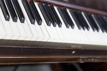Vintage old piano. Close-up of keyboard keys Stock Photo