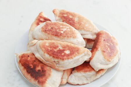 Chinese food, shrimp vegetable pancakes on a white background - Image