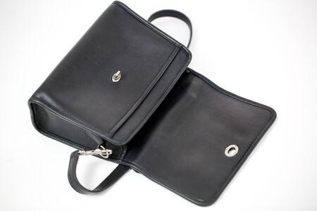 Vintage black womens handbag isolated on white background - Image 写真素材