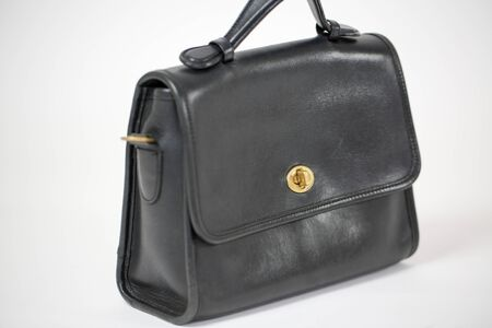 Vintage black women's handbag isolated on white background - Image 写真素材 - 132383760