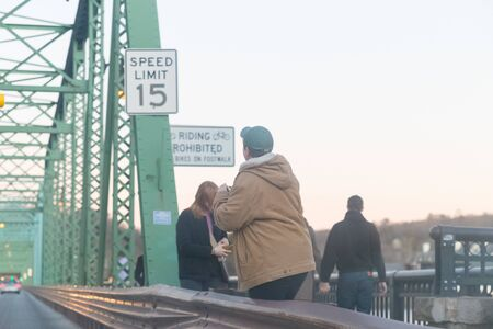 New Hope, PA, January 12, 2020: The New Hope--Lambertville Bridge is a six-span, 1,053-foot (321 m) -long bridge spanning the Delaware River that connects the city of Lambertville in New Jersey