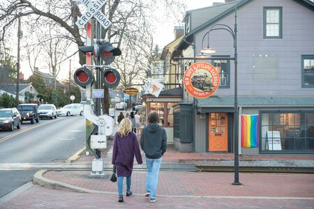New Hope, Pennsylvania, January 12, 2020: New Hope busy street. New Hope is a borough in Bucks County, Pennsylvania, United States.