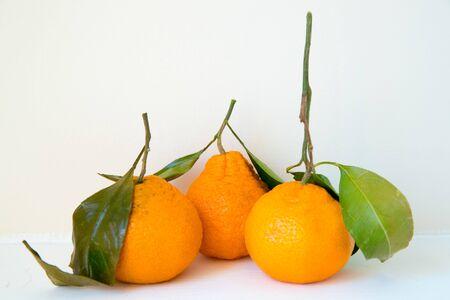 Fresh oranges with leaves isolated on white background-Image