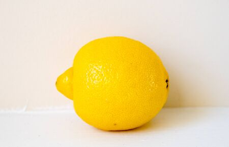 Creative layout made of lemon. Flat lay. Food concept. Lemon on white background. 写真素材