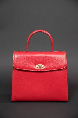 Vintage red womens handbag isolated on black background-Image