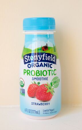 Princeton New Jersey, January 21 2020: Stonyfield Organic Organic Strawberry Whole Milk Stonyfield Organic Strawberry Whole Milk Lowfat Yogurt Smoothies closeup.-Image