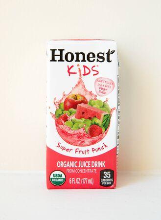 Princeton New Jersey, January 21 2020: Honest Kids juices on white background-Image 報道画像