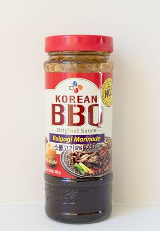 Princeton New Jersey, January 21 2020: A bottle of Korean BBQ bulgogi marinade sauce on an isolated background.-Image