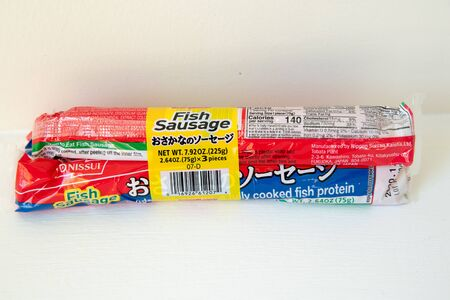 Princeton New Jersey, January 21 2020: 3 Fish Meat sausages Food Snack packed closeup-Image