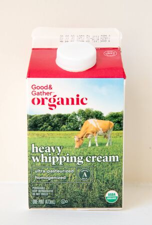 Princeton New Jersey, January 21 2020: Good & Gather organic heavy whipping cream closeup-Image