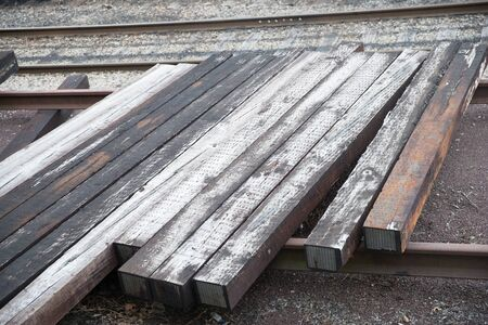 some wooden on the train rail-Image 写真素材