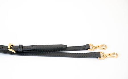 Black leather fastening belt, strap isolated on white background-Image