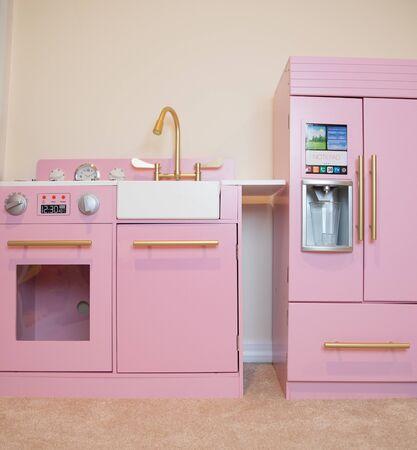 Vintage Pink toy kitchen for kids-Image