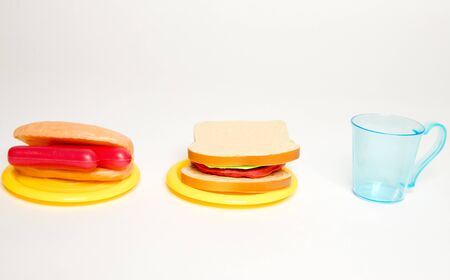 Kitchen plastic toy for kids. Kitchen utensils and toys, colorful, beautiful, placed on white background-Image