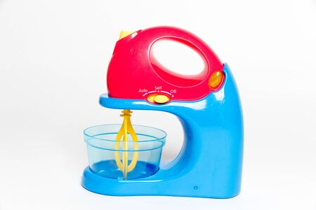 Blue and red toy Blender on Isolated White Background-Image