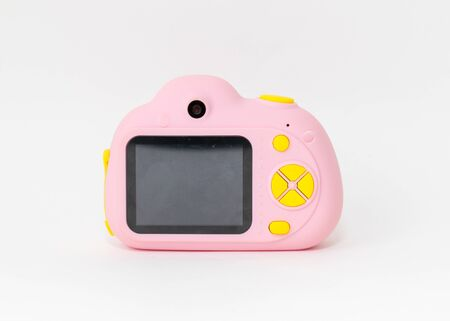 Pink and yellow Camera, kids toy on the white background-Image