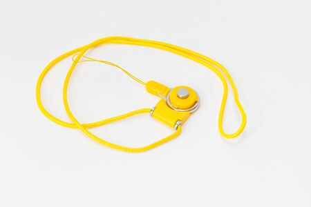 Yellow neck strap lanyard for cell phone or camera on white background-Image