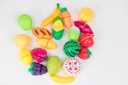 still life image of plastic kids fruit and vegetable toys 写真素材