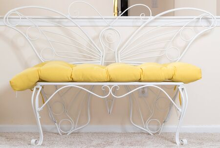 indoor metal butterfly bench. Decorative Chair Cushion Sofa Soft Seat Comfortable.-Image