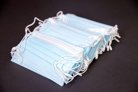Blue protective mask isolated closeup-Image
