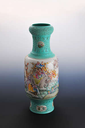 antique vase: chinese antique vase on the plain back ground