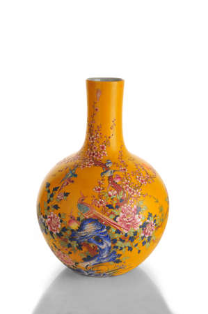antique vase: chinese antique vase on the plain background