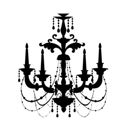 chandelier: antique decorative chandelier silhouette isolated on white