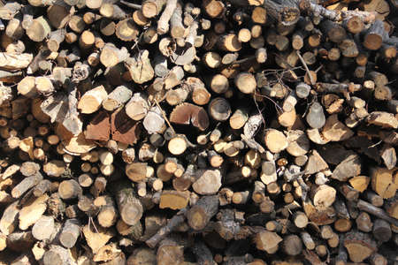 stack of firewood: A stack of firewood Stock Photo