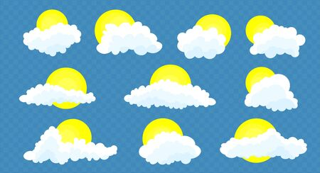 Clouds set with sun isolated on a blue    transparent background. Simple cute cartoon design. Icon or logo collection. Realistic elements. Flat style. Vector illustration Stock fotó - 128802330