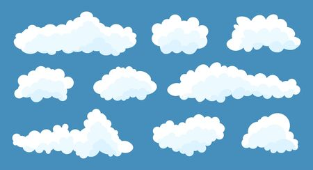 Clouds set isolated on a blue background. Simple cute cartoon design. Stock fotó - 128804182