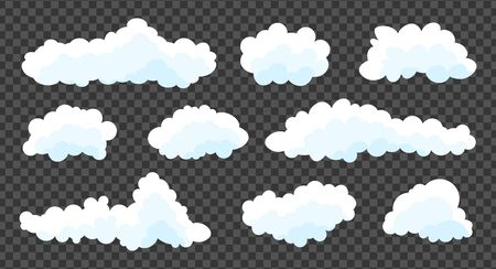 Clouds set isolated on a grey  transparent background. Simple cute cartoon design. Stock fotó - 128804245