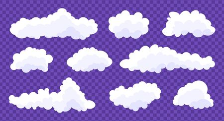Clouds set isolated on a violet  transparent background. Simple cute cartoon design. Stock fotó - 128804250