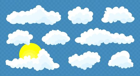 Clouds set with sun isolated on a blue    transparent background. Simple cute cartoon design.