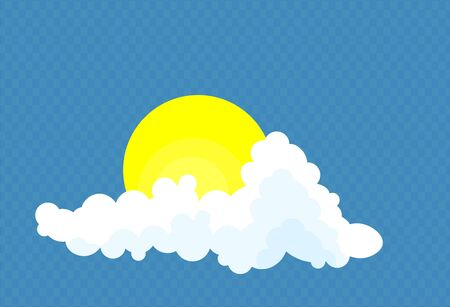Clouds with sun isolated on a blue    transparent background. Simple cute cartoon design.