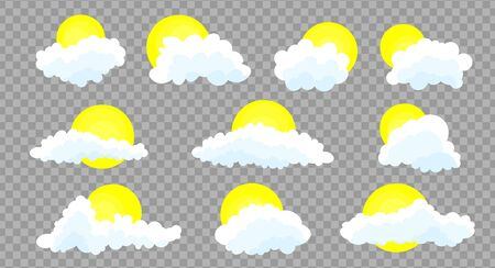 Clouds set isolated on a grey transparent background. Simple cute cartoon design.