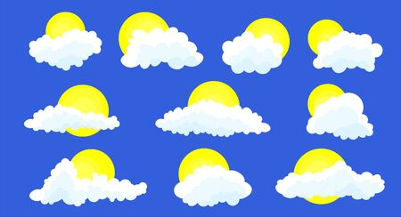 Clouds set isolated on a blue background. Simple cute cartoon design. Stock fotó - 128804304