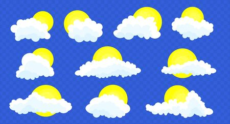 Clouds set isolated on a blue transparent background. Simple cute cartoon design.