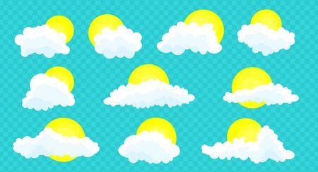 Ensemble de nuages isolé sur un fond bleu transparent. Conception simple de dessin animé mignon.