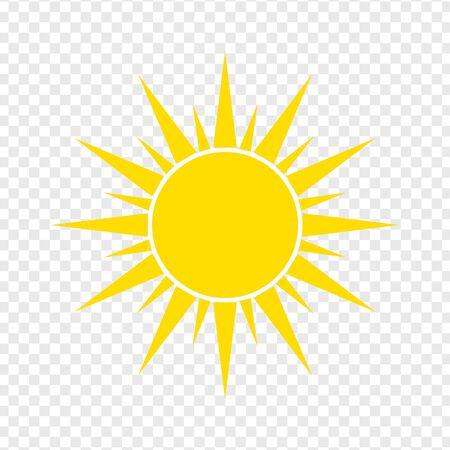Icona del sole piatto. Pittogramma estivo su sfondo trasparente. Simbolo della luce solare. Vettoriali