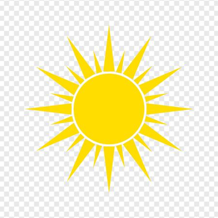 Icono de sol plano. Pictograma de verano sobre fondo transparente. Símbolo de la luz del sol. Ilustración de vector