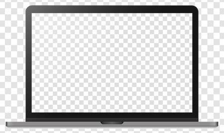 Cuaderno de metal plateado moderno realista aislado sobre fondo transparente. Plantilla de maqueta de pantalla digital. Ilustración vectorial