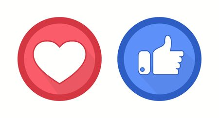 Red Heart and blue thumbs up flat style abstract background. Like concept. Love, sale, design concept. Vector illustration
