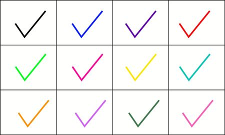 Multicolored confirm icons set. Vector illustration  イラスト・ベクター素材