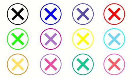 Delete icon - no sign, close symbol vector, cancel, wrong and reject set . Vector illustration