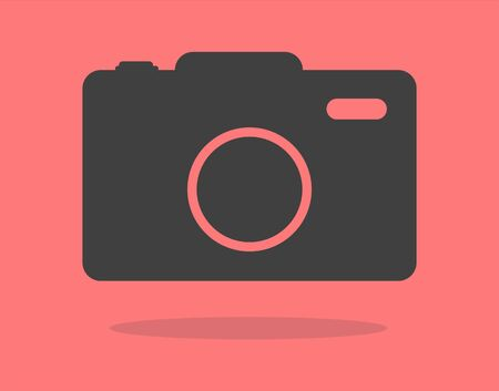 Camera icon, flat photo camera vector isolated. Modern simple snapshot photography sign. Photo internet concept. Illustration