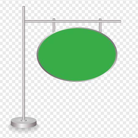 Blank green traffic road sign on transparent background. Vector illustration
