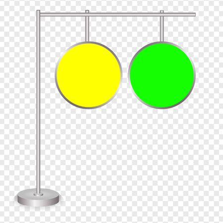 Blank green and yellow traffic road sign on transparent background. Vector illustration